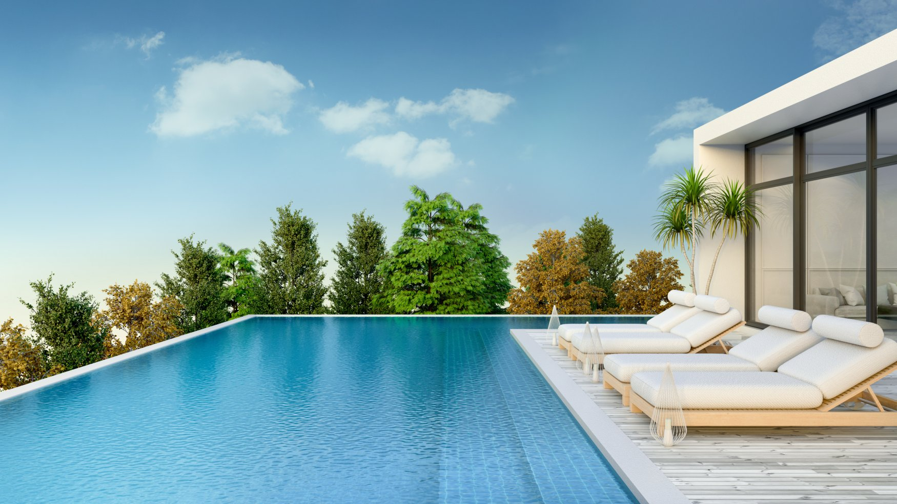 Summer,,beach,Lounge,,Sun,Loungers,On,Sunbathing,Deck,And,Private